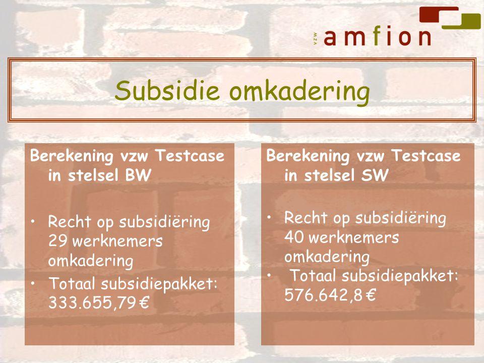 Berekening vzw Testcase in stelsel BW Recht op subsidiëring 29 werknemers omkadering Totaal subsidiepakket: 333.655,79 € Berekening vzw Testcase in stelsel SW Recht op subsidiëring 40 werknemers omkadering Totaal subsidiepakket: 576.642,8 € Subsidie omkadering