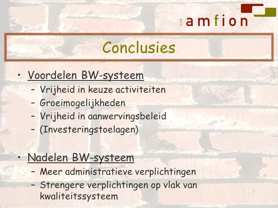 Voordelen BW-systeem –Vrijheid in keuze activiteiten –Groeimogelijkheden –Vrijheid in aanwervingsbeleid –(Investeringstoelagen) Nadelen BW-systeem –Me