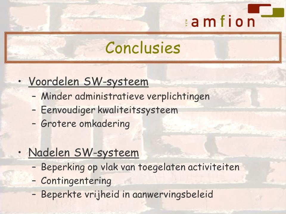 Voordelen SW-systeem –Minder administratieve verplichtingen –Eenvoudiger kwaliteitssysteem –Grotere omkadering Nadelen SW-systeem –Beperking op vlak v