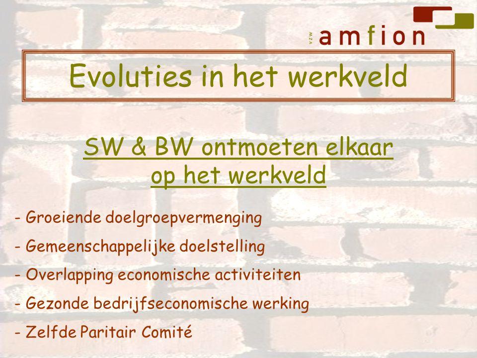 Evoluties in het werkveld - Groeiende doelgroepvermenging - Gemeenschappelijke doelstelling - Overlapping economische activiteiten - Gezonde bedrijfseconomische werking - Zelfde Paritair Comité SW & BW ontmoeten elkaar op het werkveld
