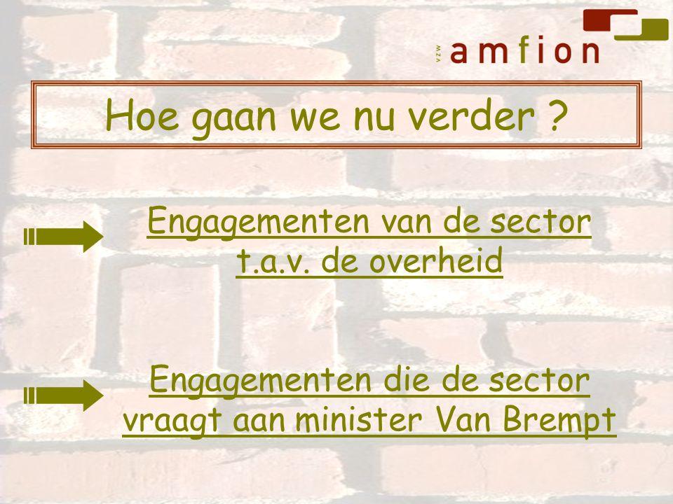 Hoe gaan we nu verder ? Engagementen die de sector vraagt aan minister Van Brempt Engagementen van de sector t.a.v. de overheid