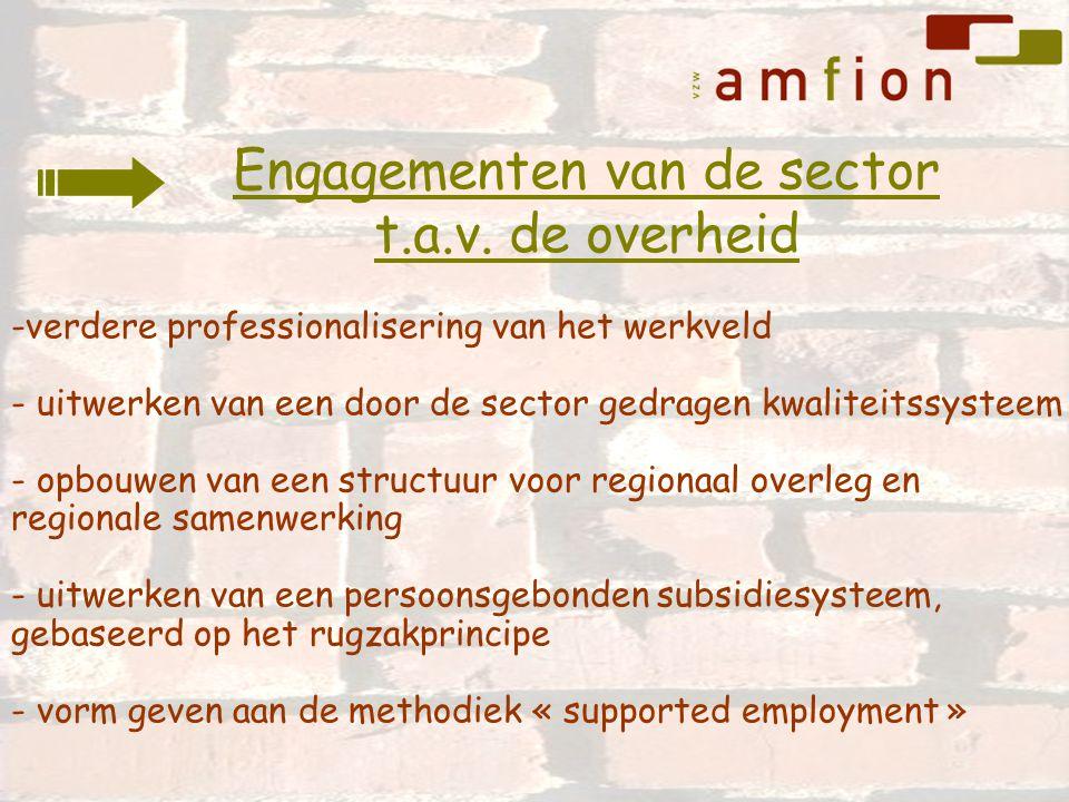 -verdere professionalisering van het werkveld - uitwerken van een door de sector gedragen kwaliteitssysteem - opbouwen van een structuur voor regionaa