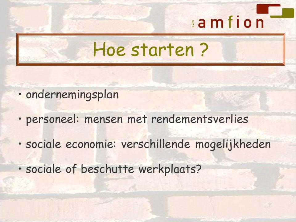 ondernemingsplan personeel: mensen met rendementsverlies sociale economie: verschillende mogelijkheden sociale of beschutte werkplaats? Hoe starten ?
