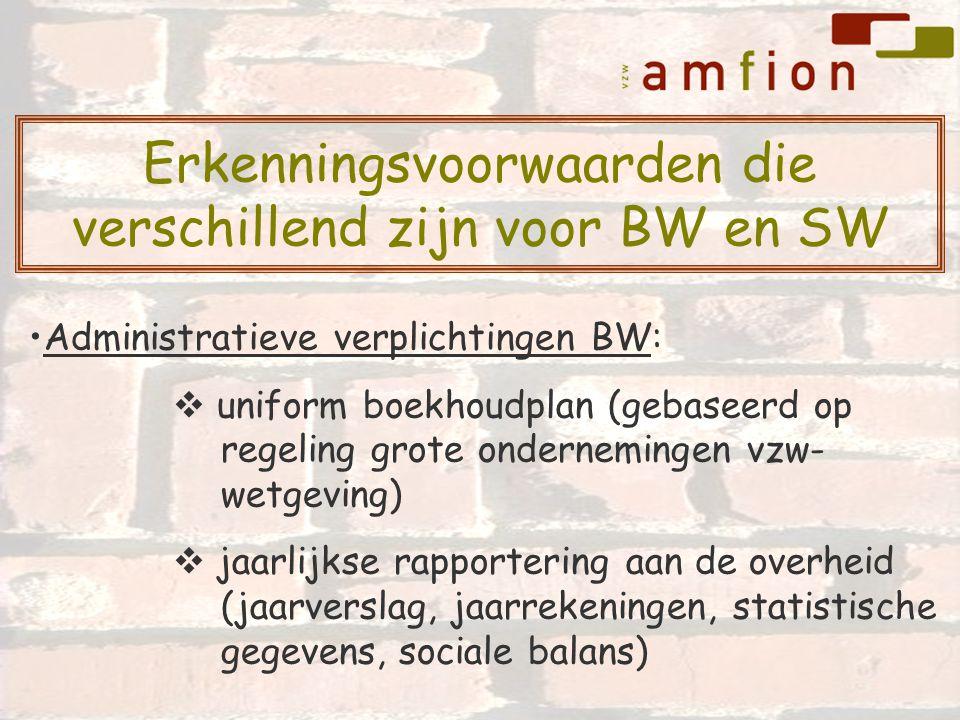 Administratieve verplichtingen BW:  uniform boekhoudplan (gebaseerd op regeling grote ondernemingen vzw- wetgeving)  jaarlijkse rapportering aan de overheid (jaarverslag, jaarrekeningen, statistische gegevens, sociale balans) Erkenningsvoorwaarden die verschillend zijn voor BW en SW