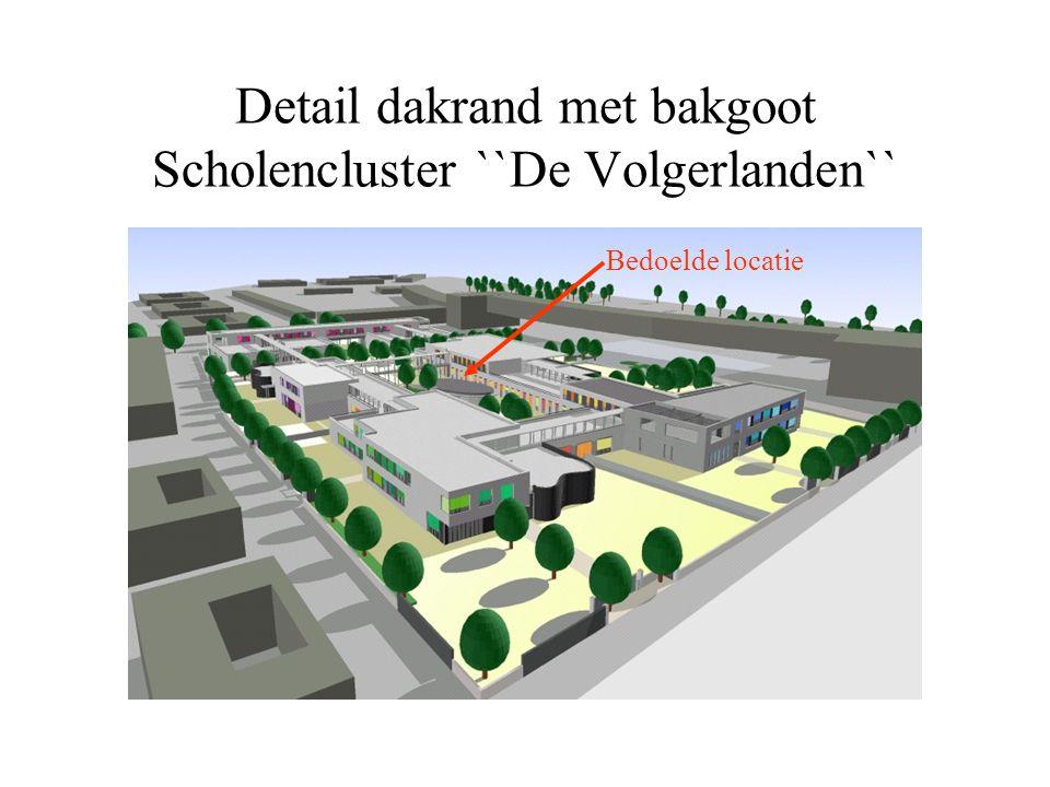 Detail dakrand met bakgoot Scholencluster ``De Volgerlanden`` Bedoelde locatie