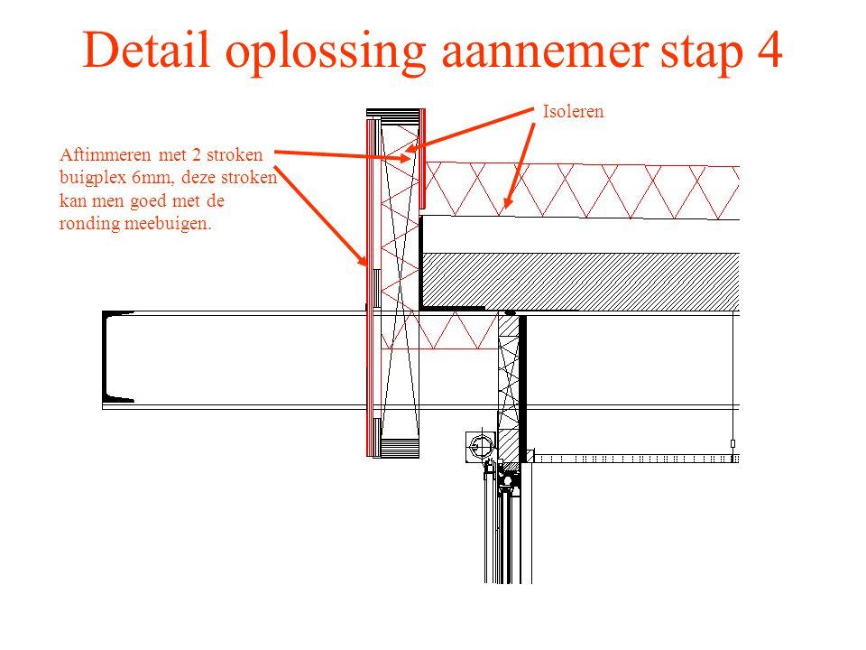 Detail oplossing aannemer stap 4 Isoleren Aftimmeren met 2 stroken buigplex 6mm, deze stroken kan men goed met de ronding meebuigen.