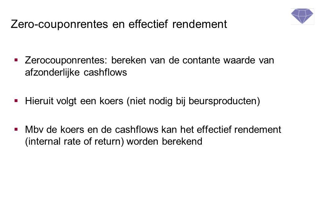 Zero-couponrentes en effectief rendement  Zerocouponrentes: bereken van de contante waarde van afzonderlijke cashflows  Hieruit volgt een koers (nie