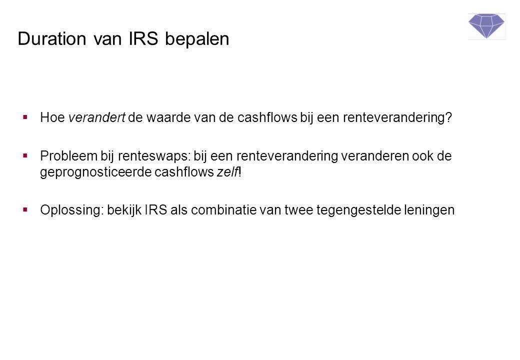 Duration van IRS bepalen  Hoe verandert de waarde van de cashflows bij een renteverandering?  Probleem bij renteswaps: bij een renteverandering vera
