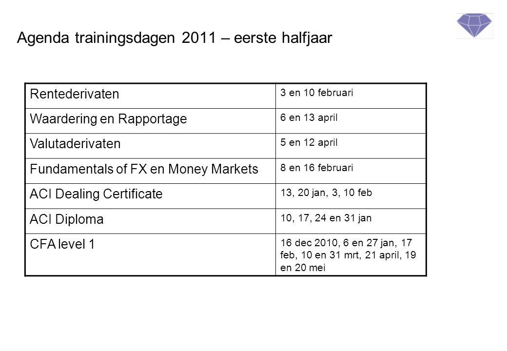 Agenda trainingsdagen 2011 – eerste halfjaar Rentederivaten 3 en 10 februari Waardering en Rapportage 6 en 13 april Valutaderivaten 5 en 12 april Fund