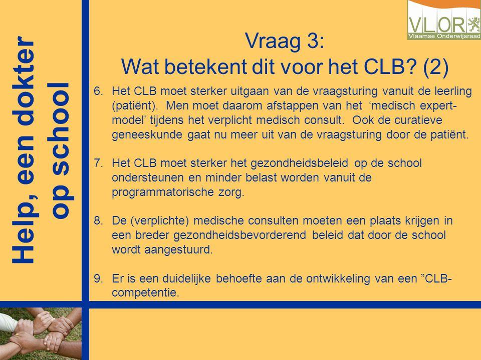 Vraag 3: Wat betekent dit voor het CLB? (2) 6.Het CLB moet sterker uitgaan van de vraagsturing vanuit de leerling (patiënt). Men moet daarom afstappen