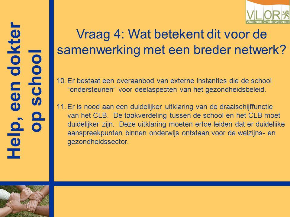 """Vraag 4: Wat betekent dit voor de samenwerking met een breder netwerk? 10.Er bestaat een overaanbod van externe instanties die de school """"ondersteunen"""