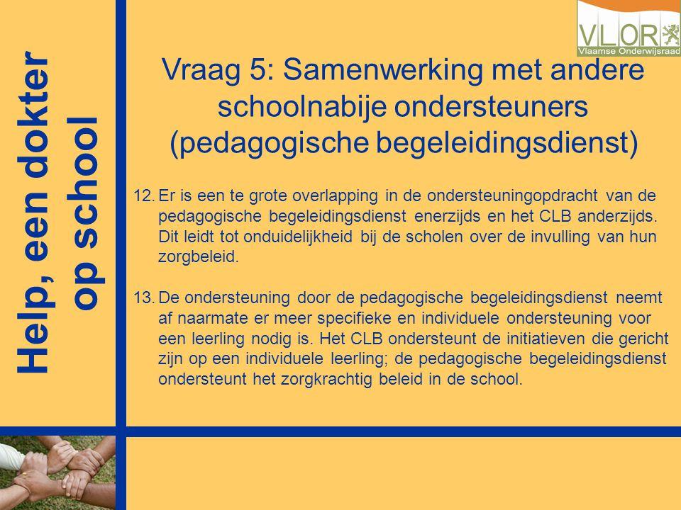 Vraag 5: Samenwerking met andere schoolnabije ondersteuners (pedagogische begeleidingsdienst) 12.Er is een te grote overlapping in de ondersteuningopd