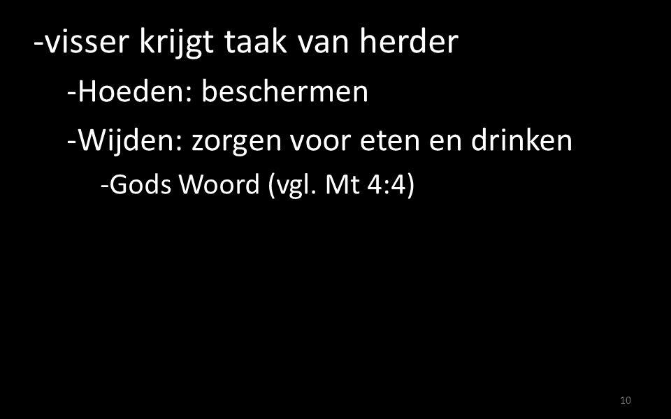 -Hoeden: beschermen -Wijden: zorgen voor eten en drinken -Gods Woord (vgl. Mt 4:4) 10