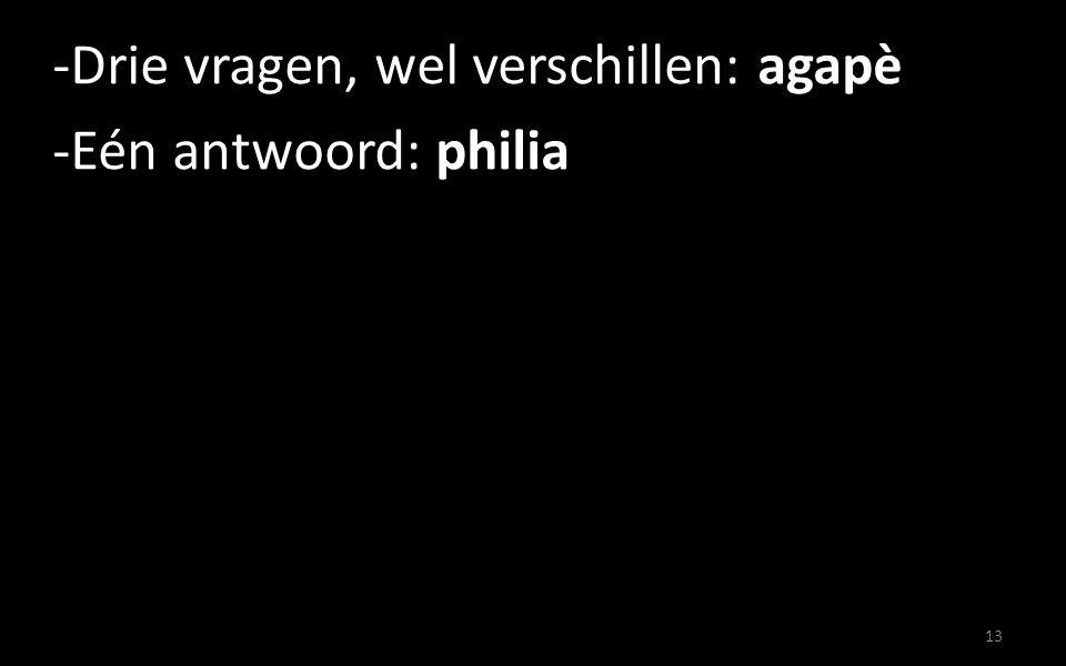 -Drie vragen, wel verschillen: agapè -Eén antwoord: philia 13