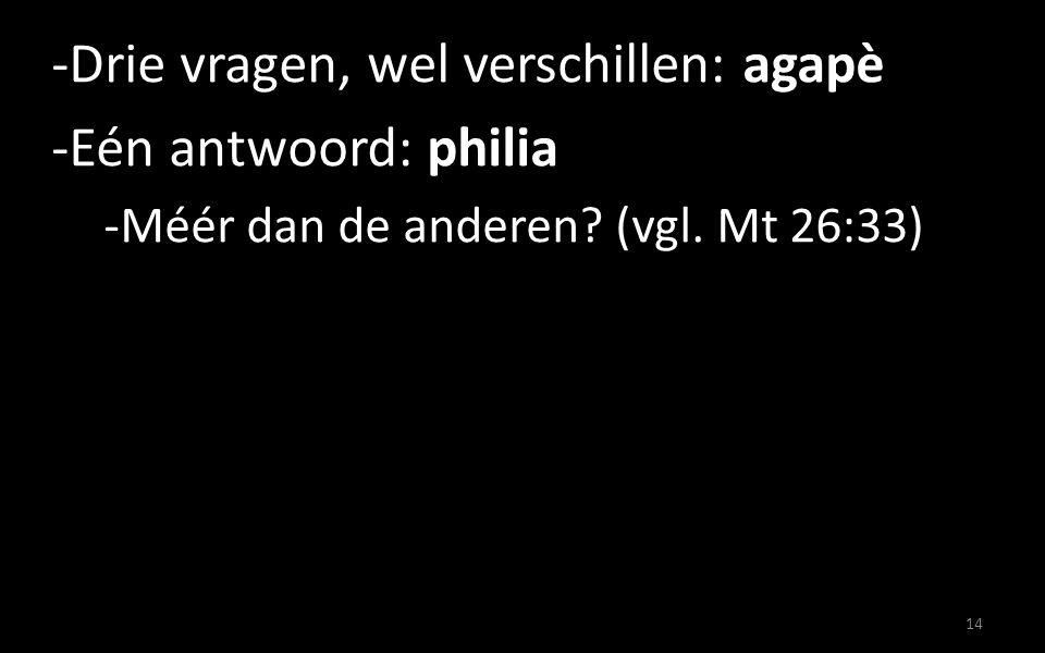 -Drie vragen, wel verschillen: agapè -Eén antwoord: philia -Méér dan de anderen? (vgl. Mt 26:33) 14