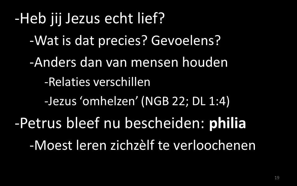-Heb jij Jezus echt lief? -Wat is dat precies? Gevoelens? -Anders dan van mensen houden -Relaties verschillen -Jezus 'omhelzen' (NGB 22; DL 1:4) -Petr