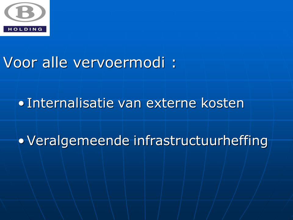 Voor alle vervoermodi : Internalisatie van externe kostenInternalisatie van externe kosten Veralgemeende infrastructuurheffingVeralgemeende infrastructuurheffing