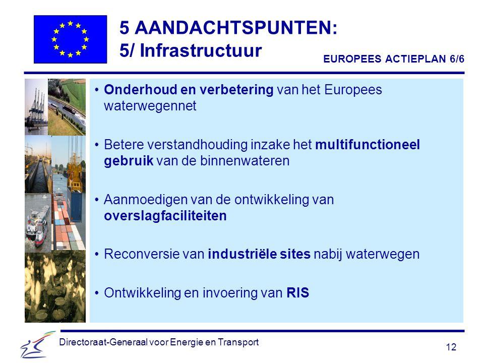 12 Directoraat-Generaal voor Energie en Transport 5 AANDACHTSPUNTEN: 5/ Infrastructuur Onderhoud en verbetering van het Europees waterwegennet Betere verstandhouding inzake het multifunctioneel gebruik van de binnenwateren Aanmoedigen van de ontwikkeling van overslagfaciliteiten Reconversie van industriële sites nabij waterwegen Ontwikkeling en invoering van RIS EUROPEES ACTIEPLAN 6/6