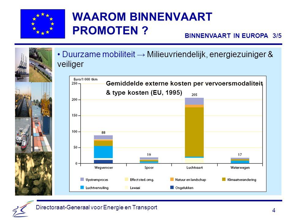 4 Directoraat-Generaal voor Energie en Transport WAAROM BINNENVAART PROMOTEN .