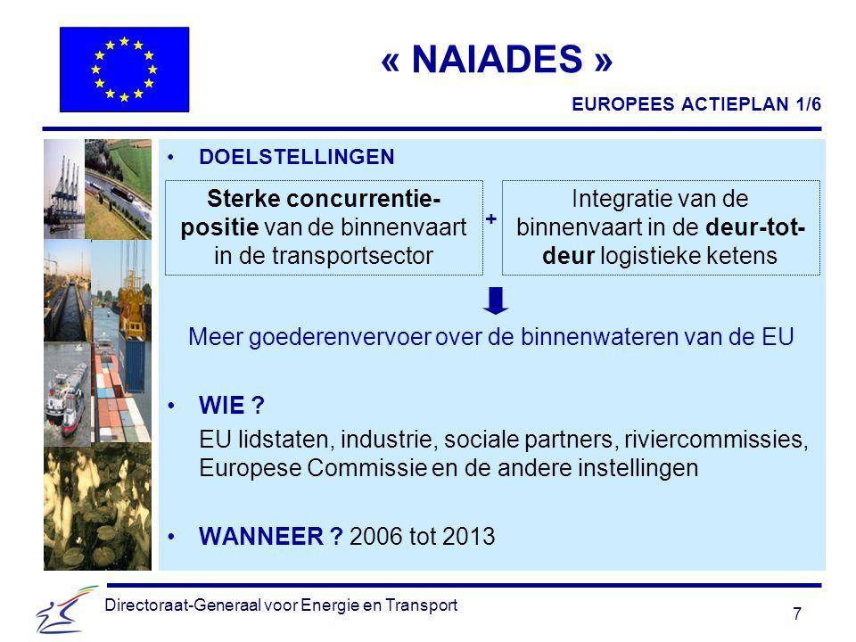 7 Directoraat-Generaal voor Energie en Transport « NAIADES » DOELSTELLINGEN + Meer goederenvervoer over de binnenwateren van de EU WIE .