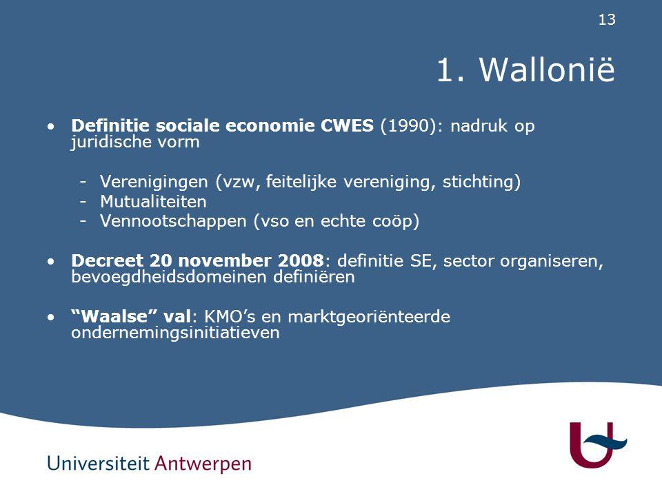 13 1. Wallonië Definitie sociale economie CWES (1990): nadruk op juridische vorm -Verenigingen (vzw, feitelijke vereniging, stichting) -Mutualiteiten