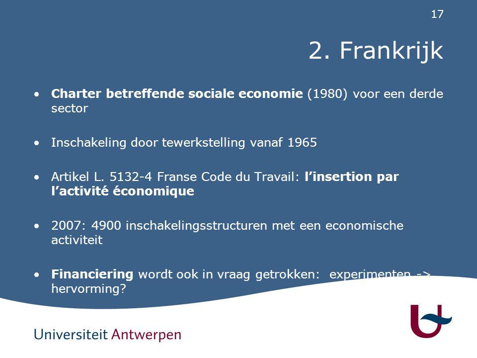 17 2. Frankrijk Charter betreffende sociale economie (1980) voor een derde sector Inschakeling door tewerkstelling vanaf 1965 Artikel L. 5132-4 Franse