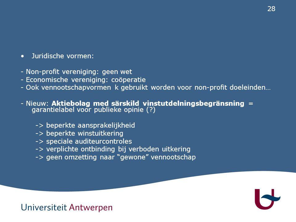 28 Juridische vormen: - Non-profit vereniging: geen wet - Economische vereniging: coöperatie - Ook vennootschapvormen k gebruikt worden voor non-profi