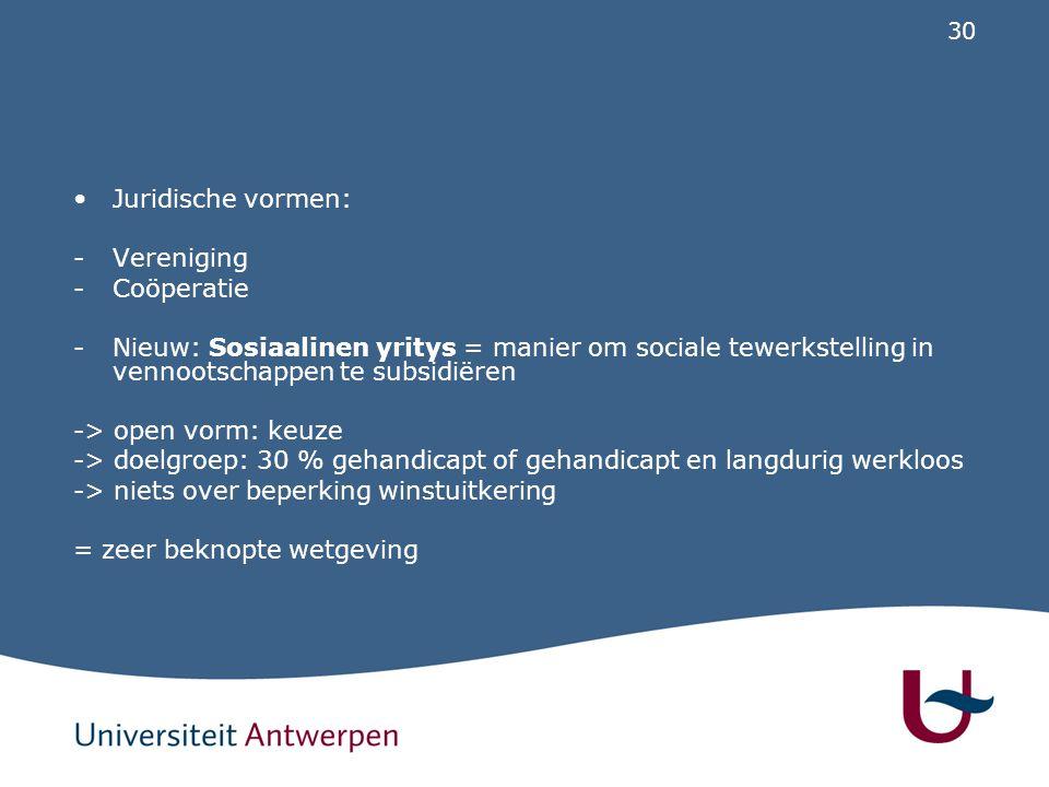 30 Juridische vormen: -Vereniging -Coöperatie -Nieuw: Sosiaalinen yritys = manier om sociale tewerkstelling in vennootschappen te subsidiëren -> open