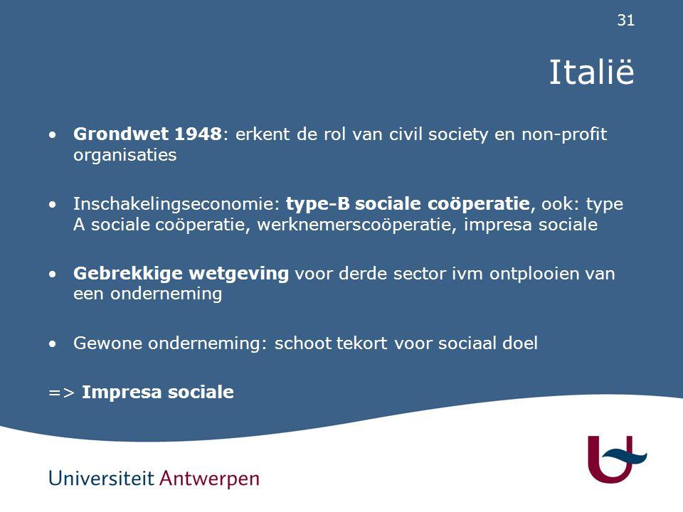 31 Italië Grondwet 1948: erkent de rol van civil society en non-profit organisaties Inschakelingseconomie: type-B sociale coöperatie, ook: type A soci