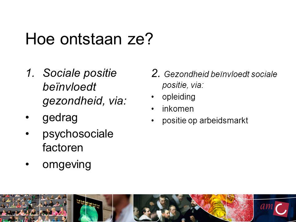 Hoe ontstaan ze? 1.Sociale positie beïnvloedt gezondheid, via: gedrag psychosociale factoren omgeving 2. Gezondheid beïnvloedt sociale positie, via: o
