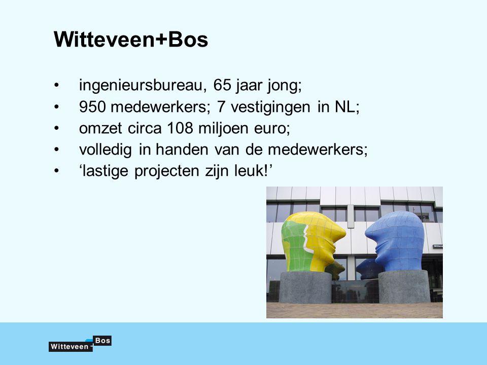 Witteveen+Bos ingenieursbureau, 65 jaar jong; 950 medewerkers; 7 vestigingen in NL; omzet circa 108 miljoen euro; volledig in handen van de medewerkers; 'lastige projecten zijn leuk!'