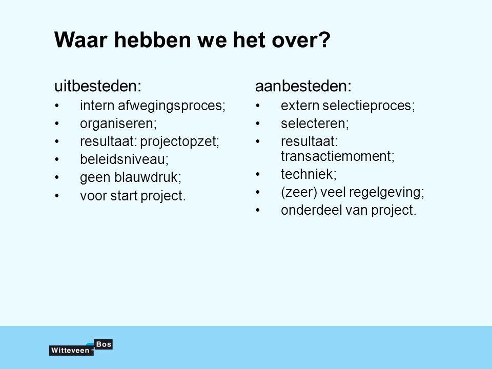 Waar hebben we het over? uitbesteden: intern afwegingsproces; organiseren; resultaat: projectopzet; beleidsniveau; geen blauwdruk; voor start project.