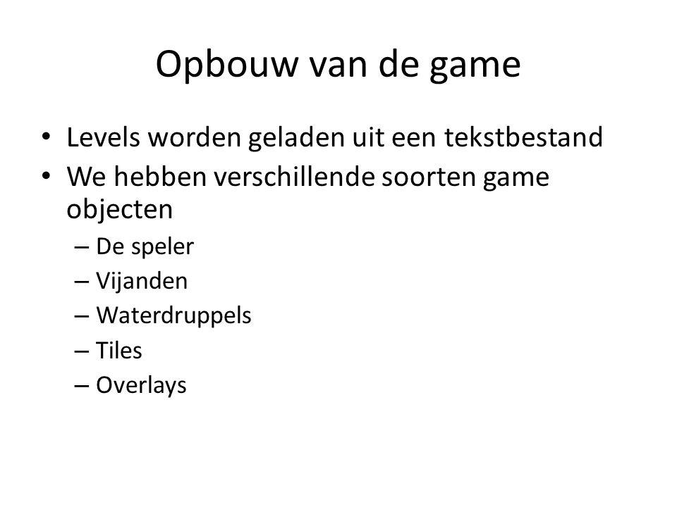 Opbouw van de game Levels worden geladen uit een tekstbestand We hebben verschillende soorten game objecten – De speler – Vijanden – Waterdruppels – Tiles – Overlays