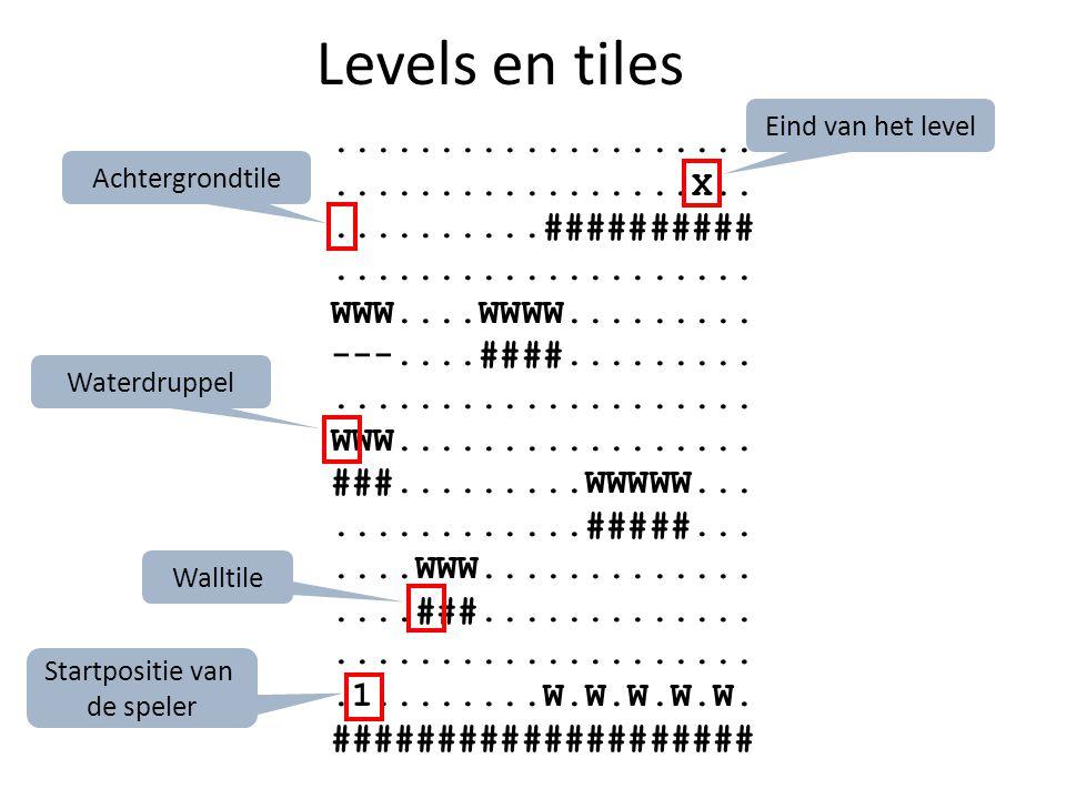 Levels en tiles.....................................X............##########....................