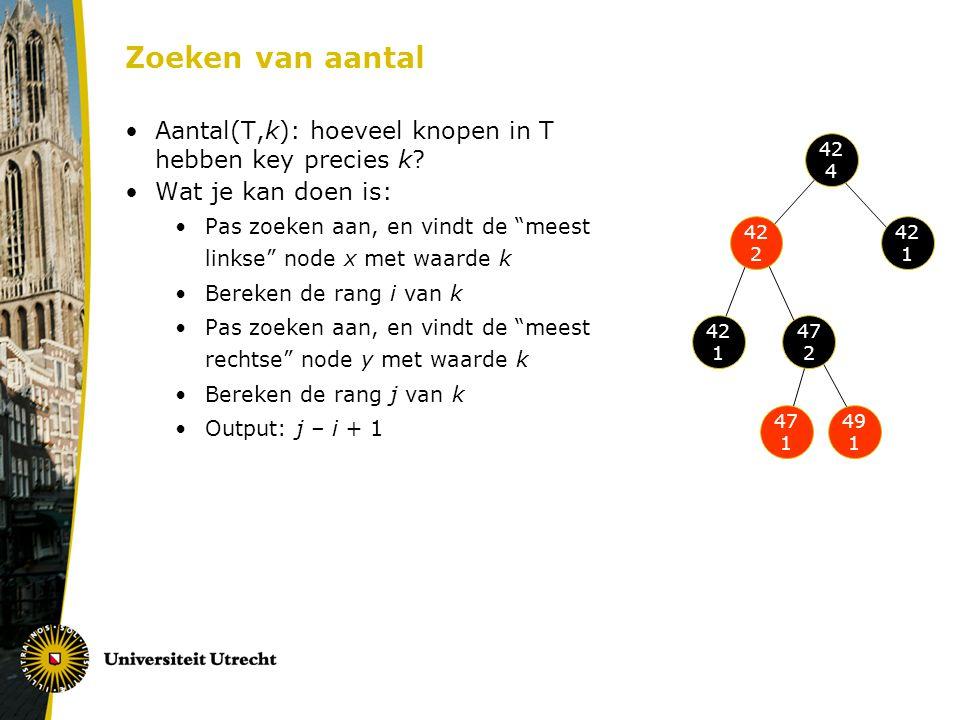 """Zoeken van aantal Aantal(T,k): hoeveel knopen in T hebben key precies k? Wat je kan doen is: Pas zoeken aan, en vindt de """"meest linkse"""" node x met waa"""