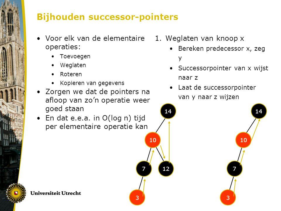 Bijhouden successor-pointers Voor elk van de elementaire operaties: Toevoegen Weglaten Roteren Kopieren van gegevens Zorgen we dat de pointers na aflo