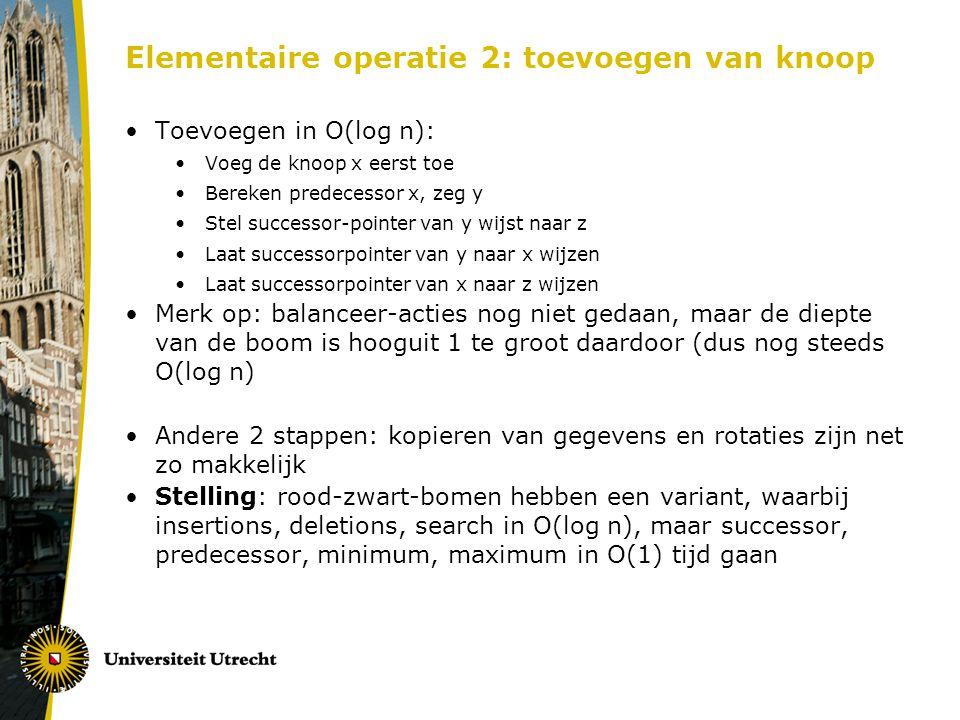Elementaire operatie 2: toevoegen van knoop Toevoegen in O(log n): Voeg de knoop x eerst toe Bereken predecessor x, zeg y Stel successor-pointer van y