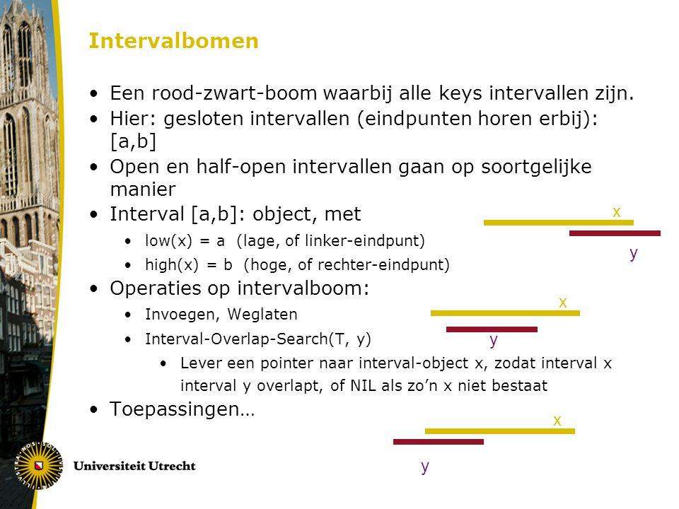 Intervalbomen Een rood-zwart-boom waarbij alle keys intervallen zijn. Hier: gesloten intervallen (eindpunten horen erbij): [a,b] Open en half-open int