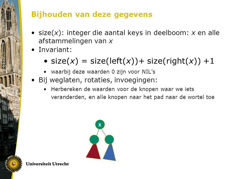 Bijhouden van deze gegevens size(x): integer die aantal keys in deelboom: x en alle afstammelingen van x Invariant: size(x) = size(left(x))+ size(righ