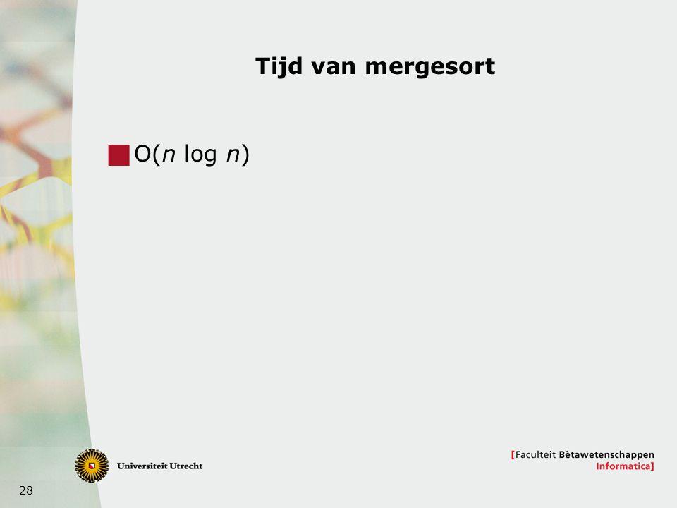 28 Tijd van mergesort  O(n log n)