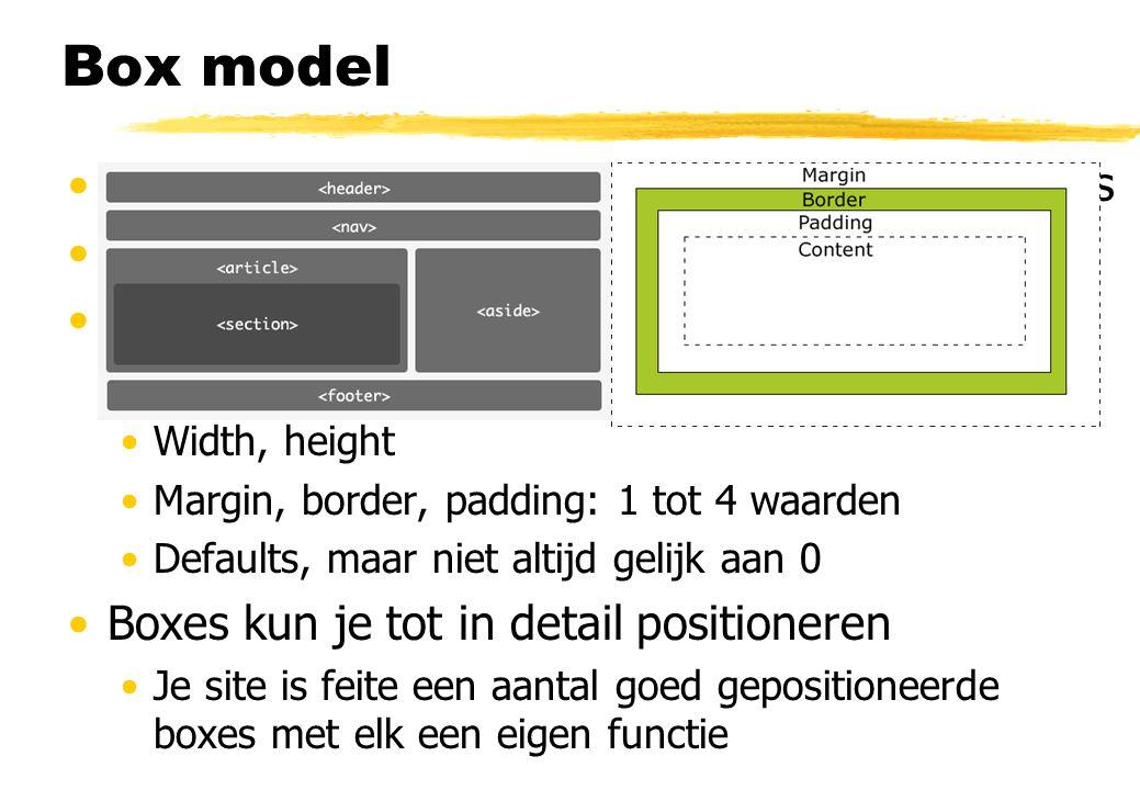 Box model Document gemodeleerd als hiërarchie van boxes Properties van de boxes zijn aanpasbaar Block level boxes 4 zones Width, height Margin, border