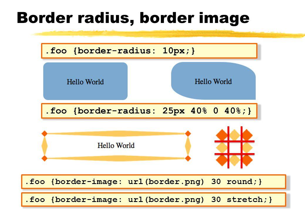 Border radius, border image.foo {border-radius: 10px;}.foo {border-radius: 25px 40% 0 40%;}.foo {border-image: url(border.png) 30 round;}.foo {border-
