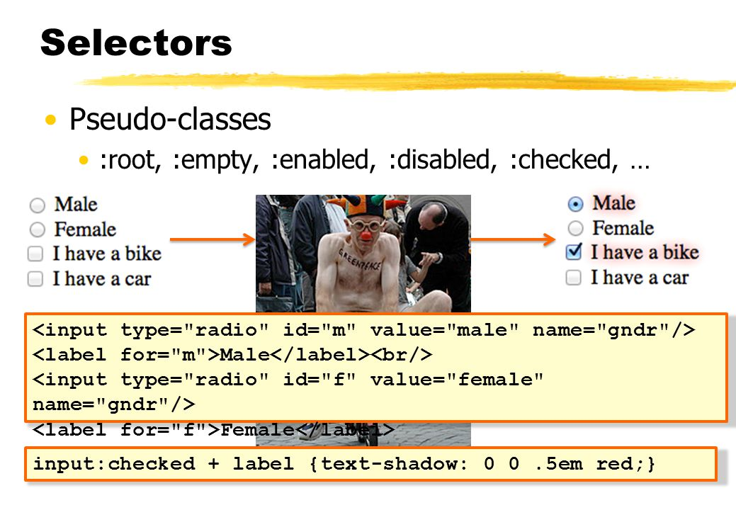 Selectors Pseudo-classes :root, :empty, :enabled, :disabled, :checked, … Male Female input:checked + label {text-shadow: 0 0.5em red;}