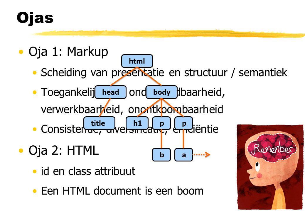 Ojas Oja 1: Markup Scheiding van presentatie en structuur / semantiek Toegankelijkheid, onderhoudbaarheid, verwerkbaarheid, onontkoombaarheid Consiste