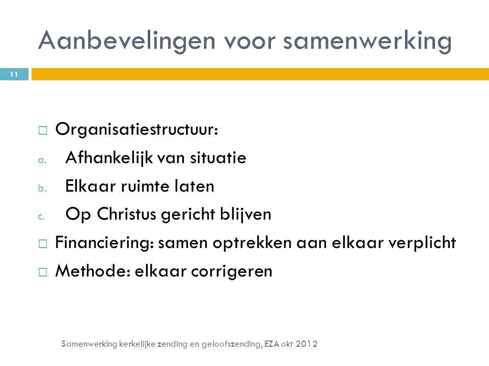 Aanbevelingen voor samenwerking  Organisatiestructuur: a.