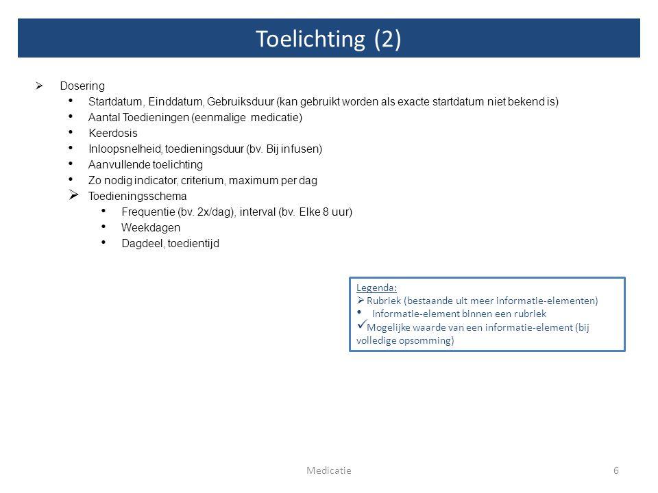 Toelichting (2) 6Medicatie  Dosering Startdatum, Einddatum, Gebruiksduur (kan gebruikt worden als exacte startdatum niet bekend is) Aantal Toediening