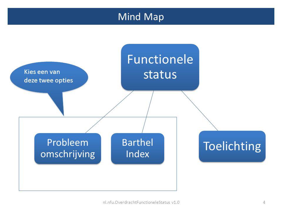 Mind Map Functionele status Probleem omschrijving Toelichting Barthel Index nl.nfu.OverdrachtFunctioneleStatus v1.04 Kies een van deze twee opties