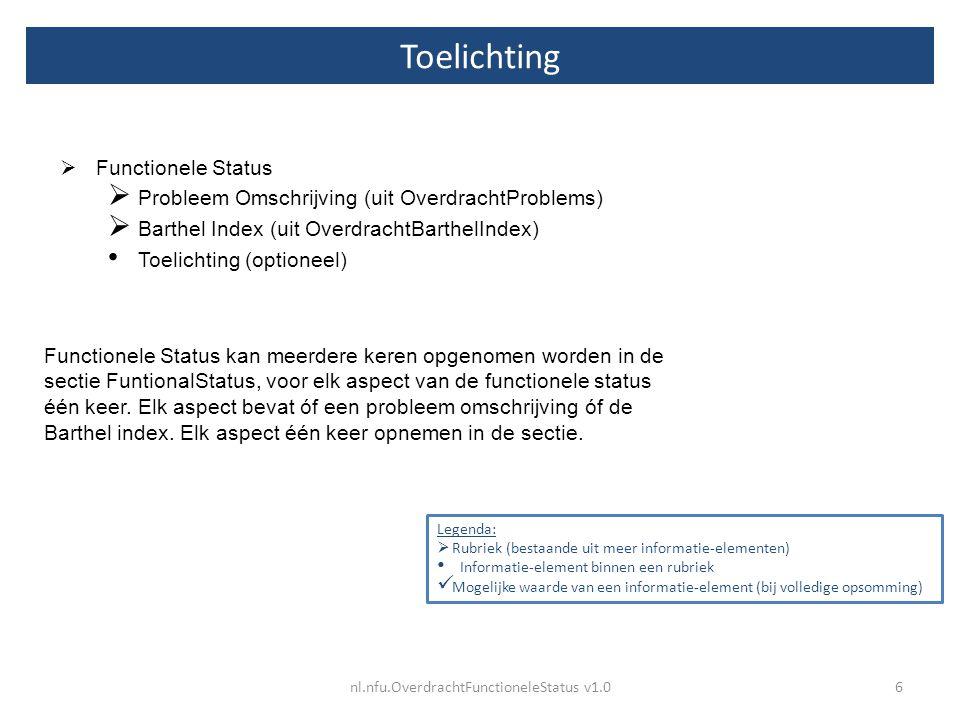 Toelichting 6nl.nfu.OverdrachtFunctioneleStatus v1.0 Legenda:  Rubriek (bestaande uit meer informatie-elementen) Informatie-element binnen een rubrie