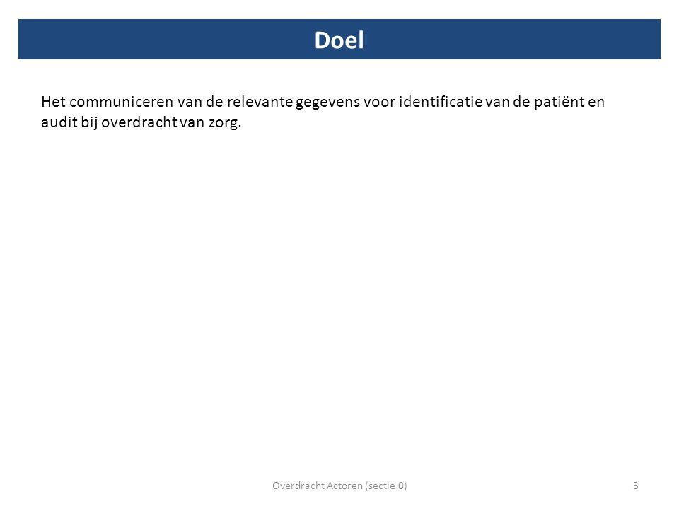 Doel Het communiceren van de relevante gegevens voor identificatie van de patiënt en audit bij overdracht van zorg. Overdracht Actoren (sectie 0)3