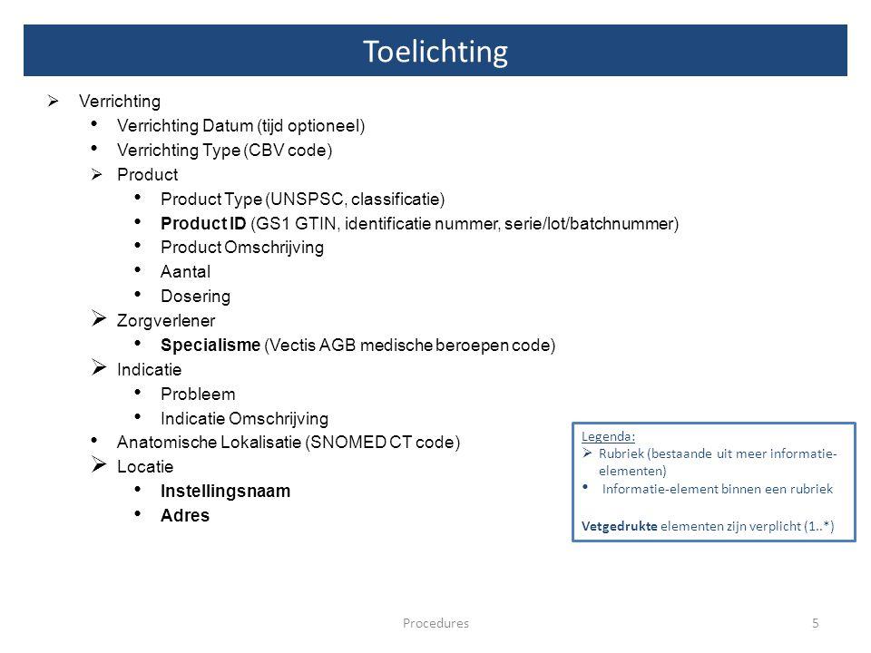 Toelichting 5Procedures  Verrichting Verrichting Datum (tijd optioneel) Verrichting Type (CBV code)  Product Product Type (UNSPSC, classificatie) Pr